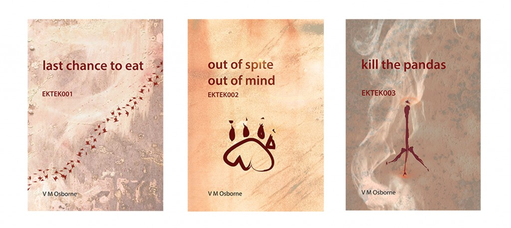 Three book covers in the EKTEK trilogy