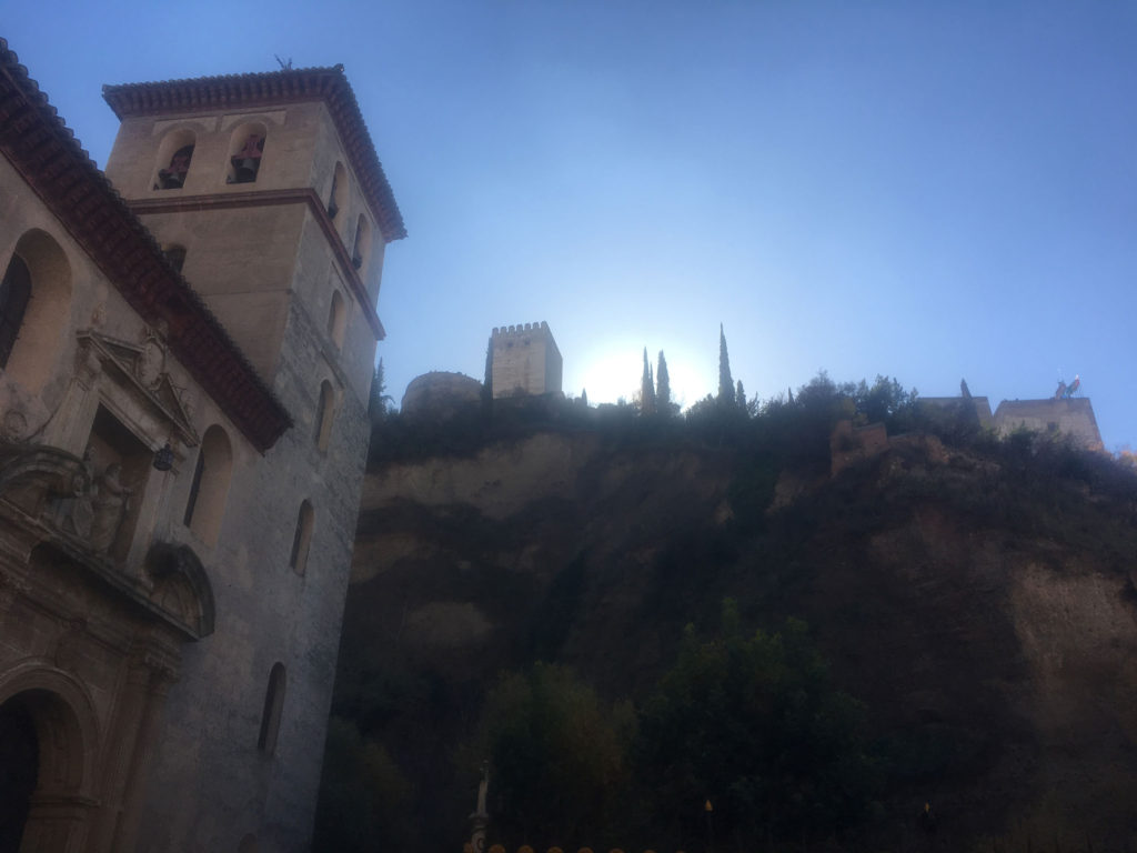 The Alhambra is up at the top of the hill - and there's a river at the foot of this valley. No casual visit from t this angle!