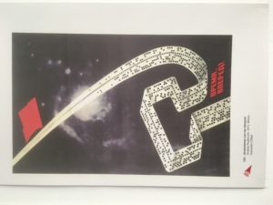 Russian poster depicting hammer and sickle in computer tape