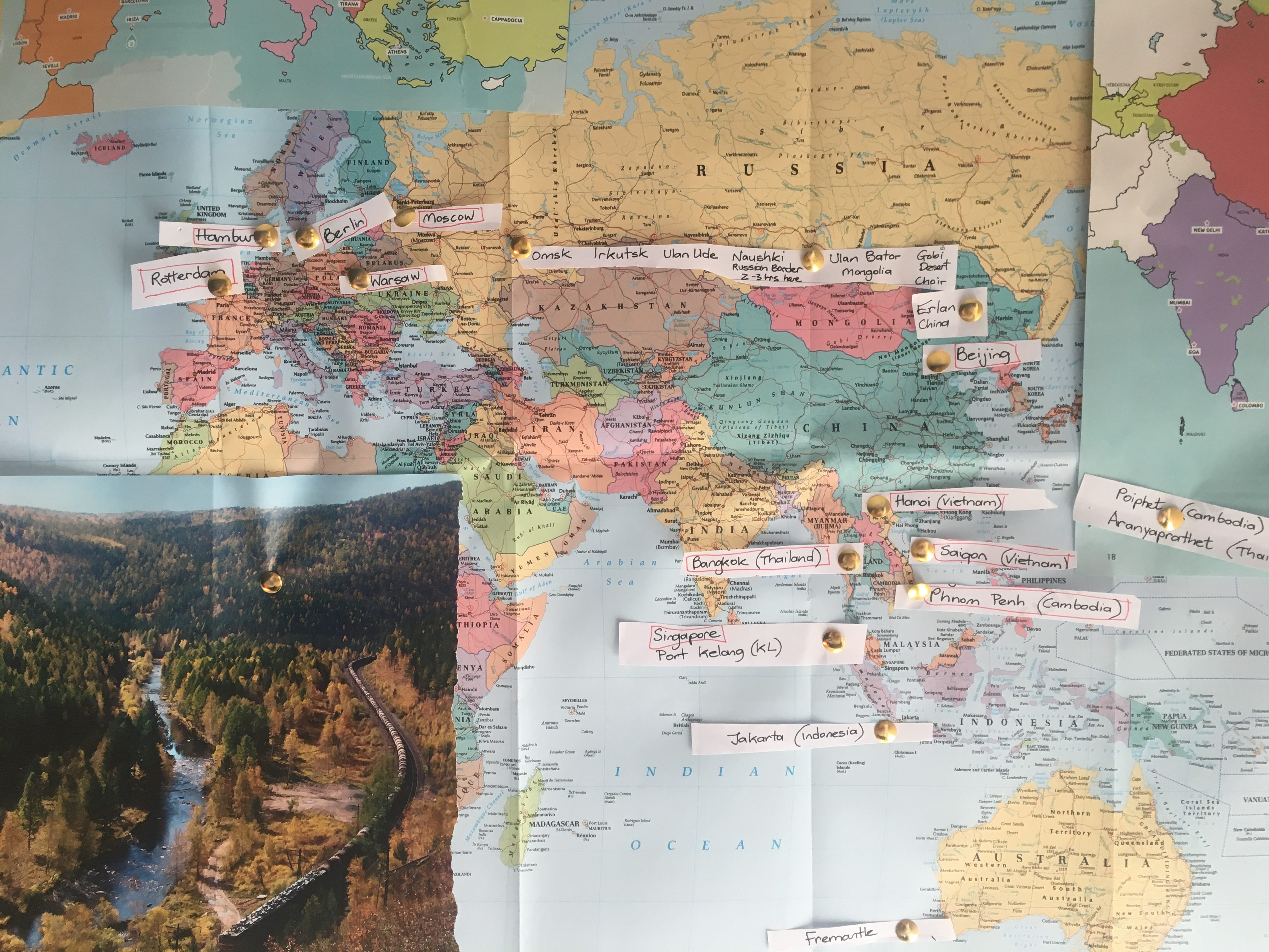 Map of half a world showing possible route from UK to Oz