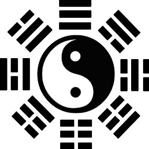 symbol of hexagons and yin and yang