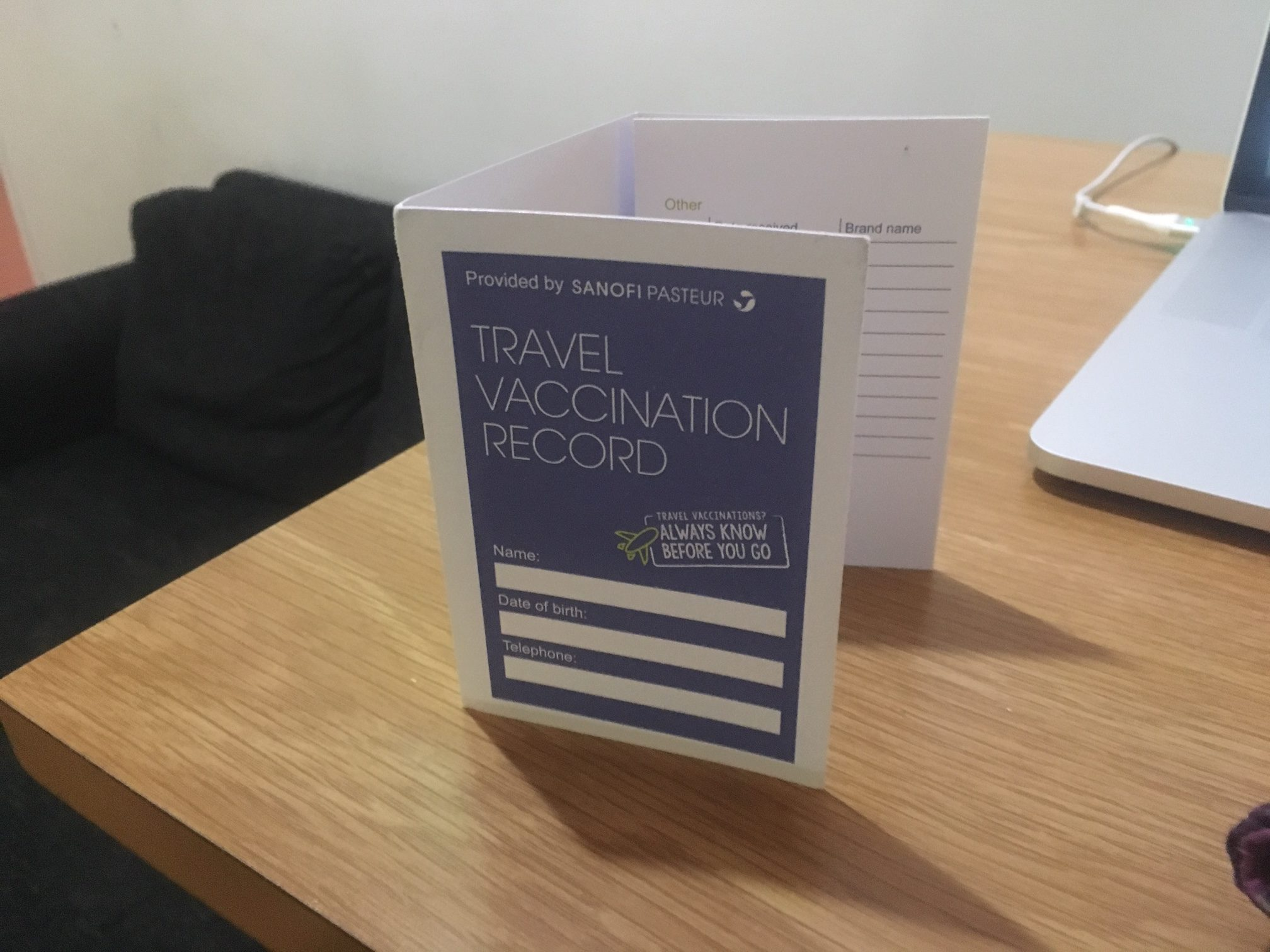 Travel vaccine card