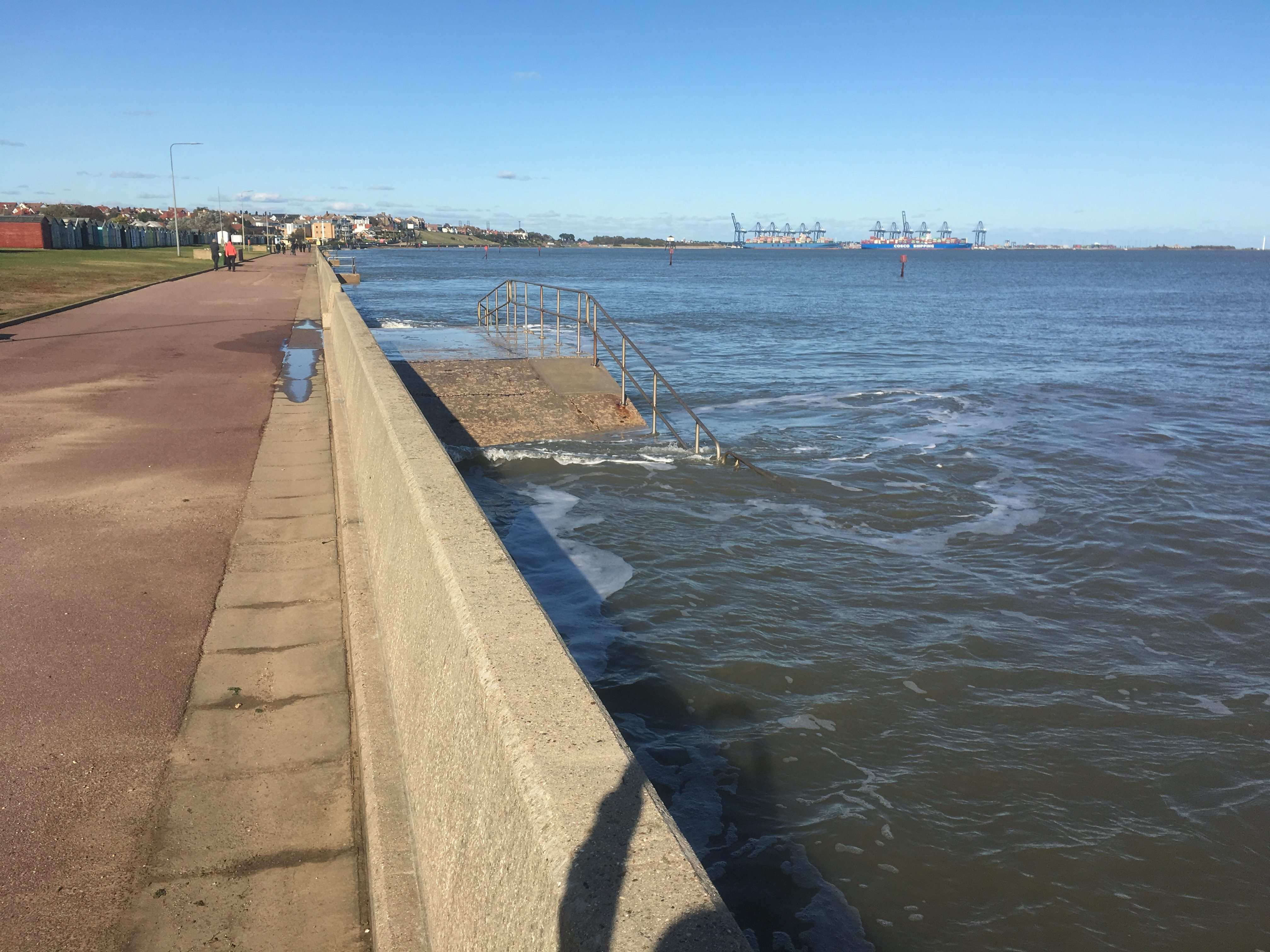 Walking beside the beach (?) looking over to Harwich Port