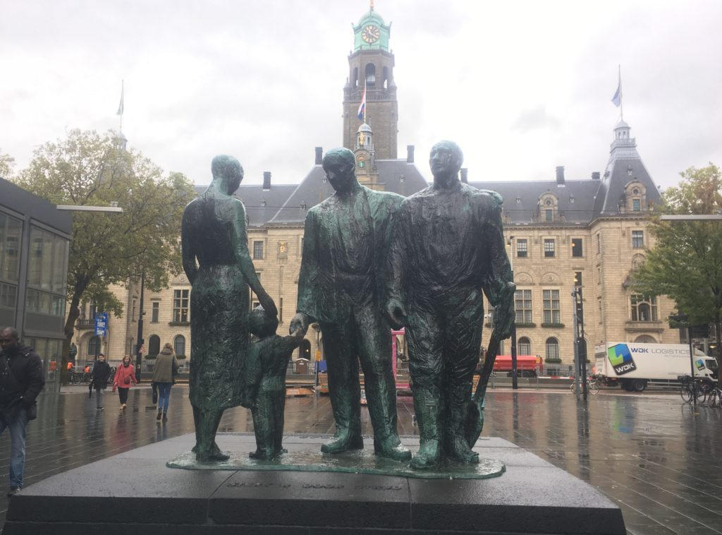 Memorial in front of the Rotterdam Town Hall