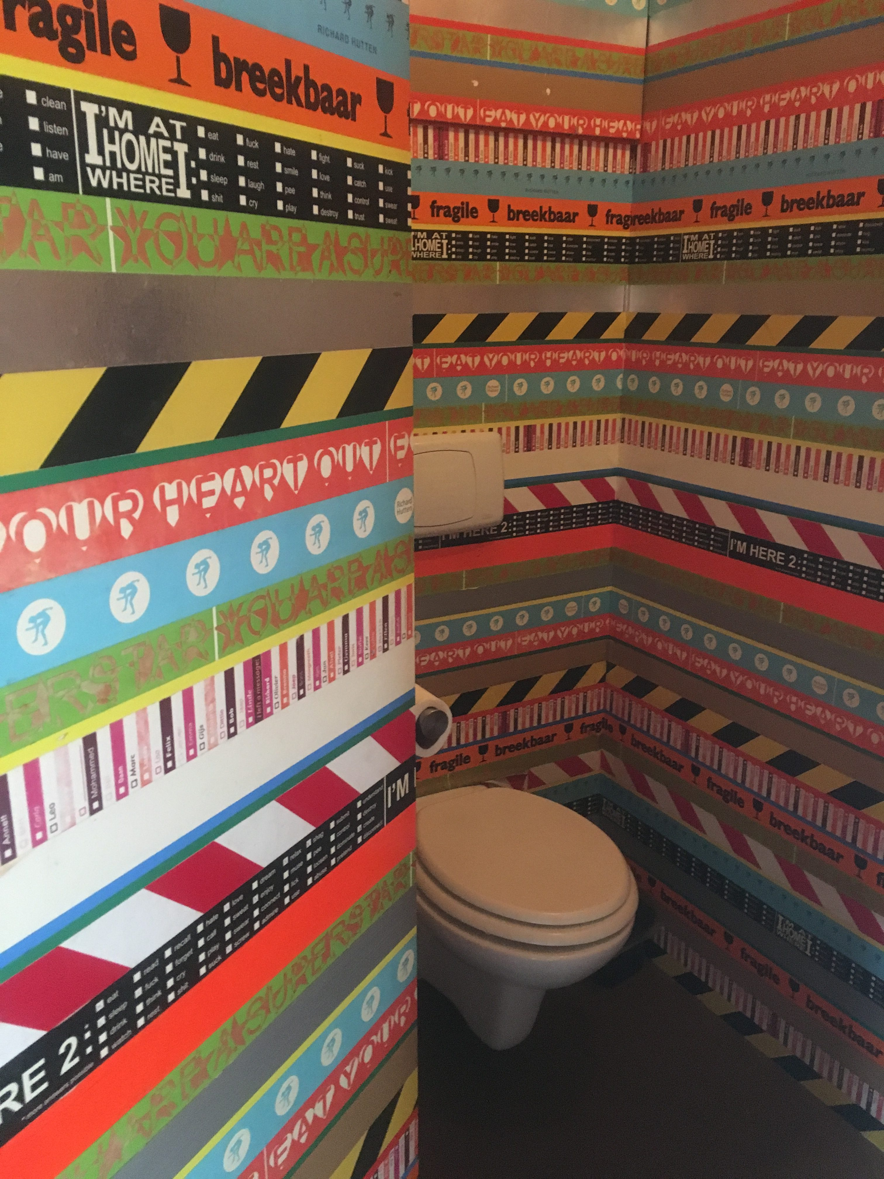 Walls decorated with pieces different tapes designed for particular purposes