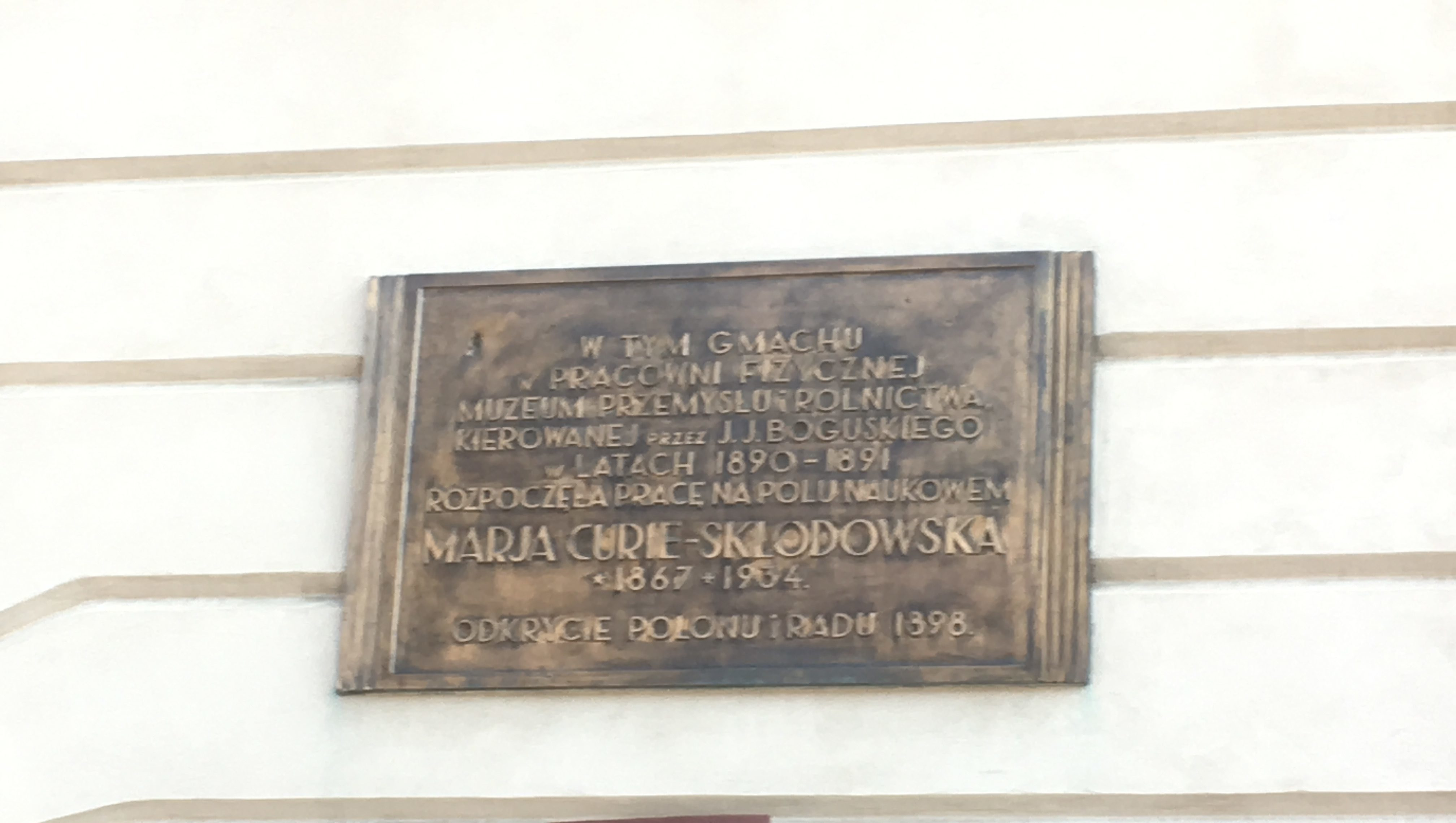 Marie Curie memorial for her first science lecture