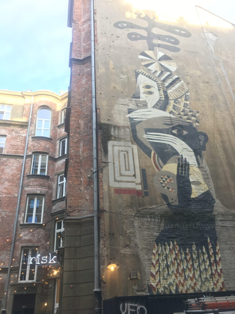 Beautiful mural in back streets of Warsaw