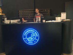 Reception desk at Moscow Strawberry Duck