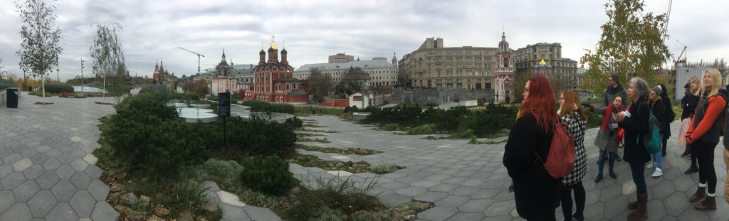 Zaryadye Park and tour group looking towards Kremlin