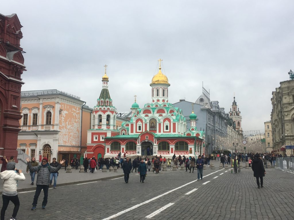 Kazan Cathedral next to sparkly decorations for GUM department store