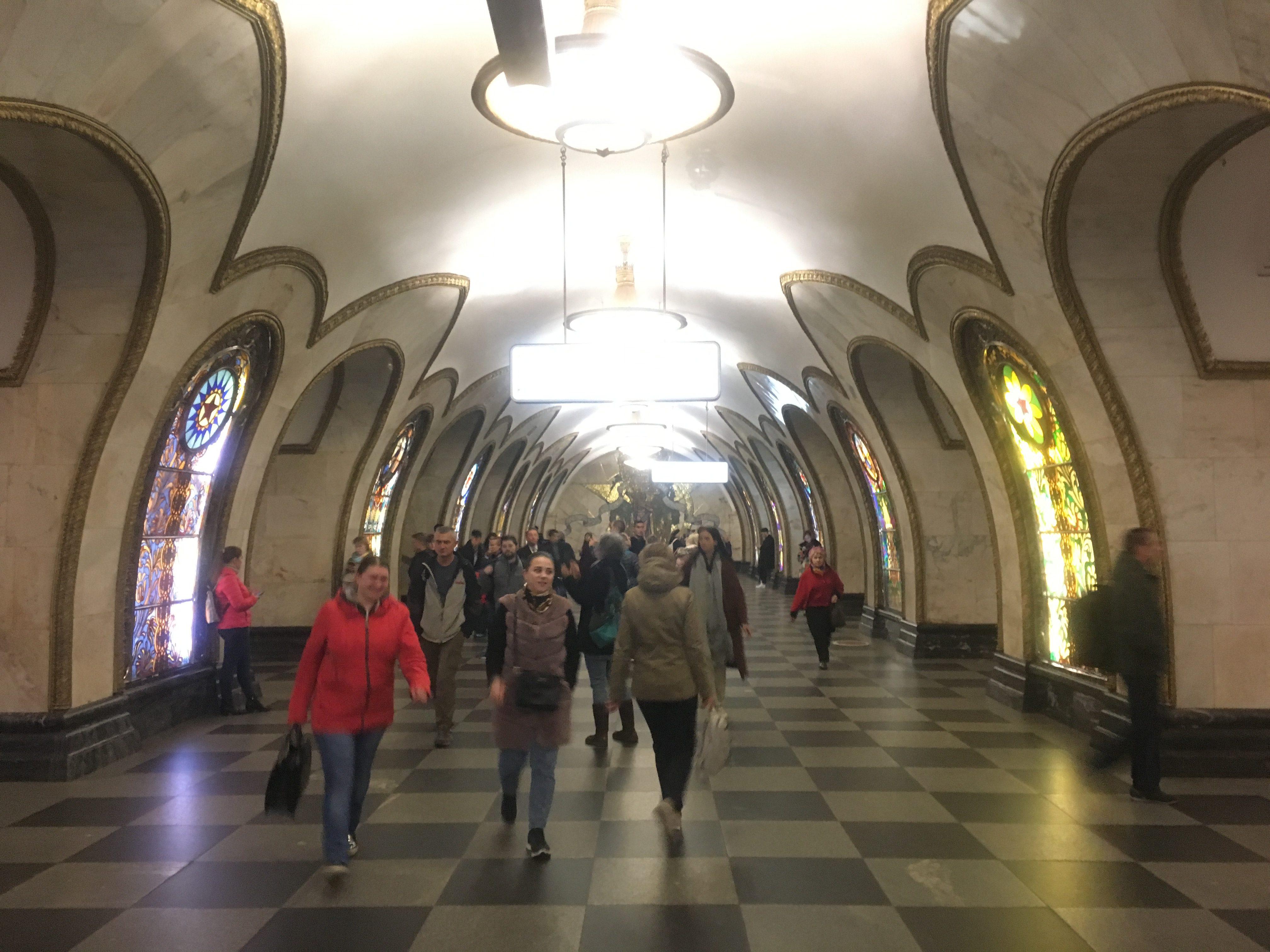 Novoslobodskaya Station's windows feature life and creation