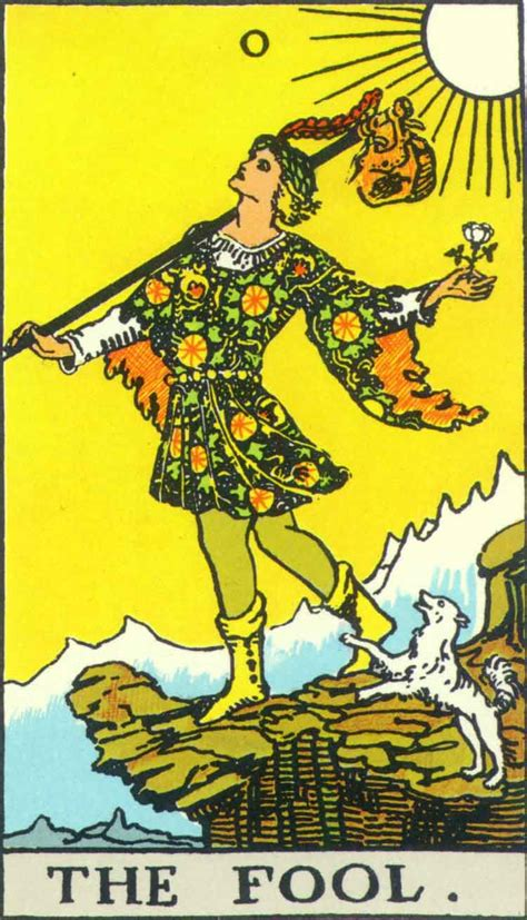 the fool from the Tarot a young man, with his little dog beside him, is looking up and about to step off a cliff