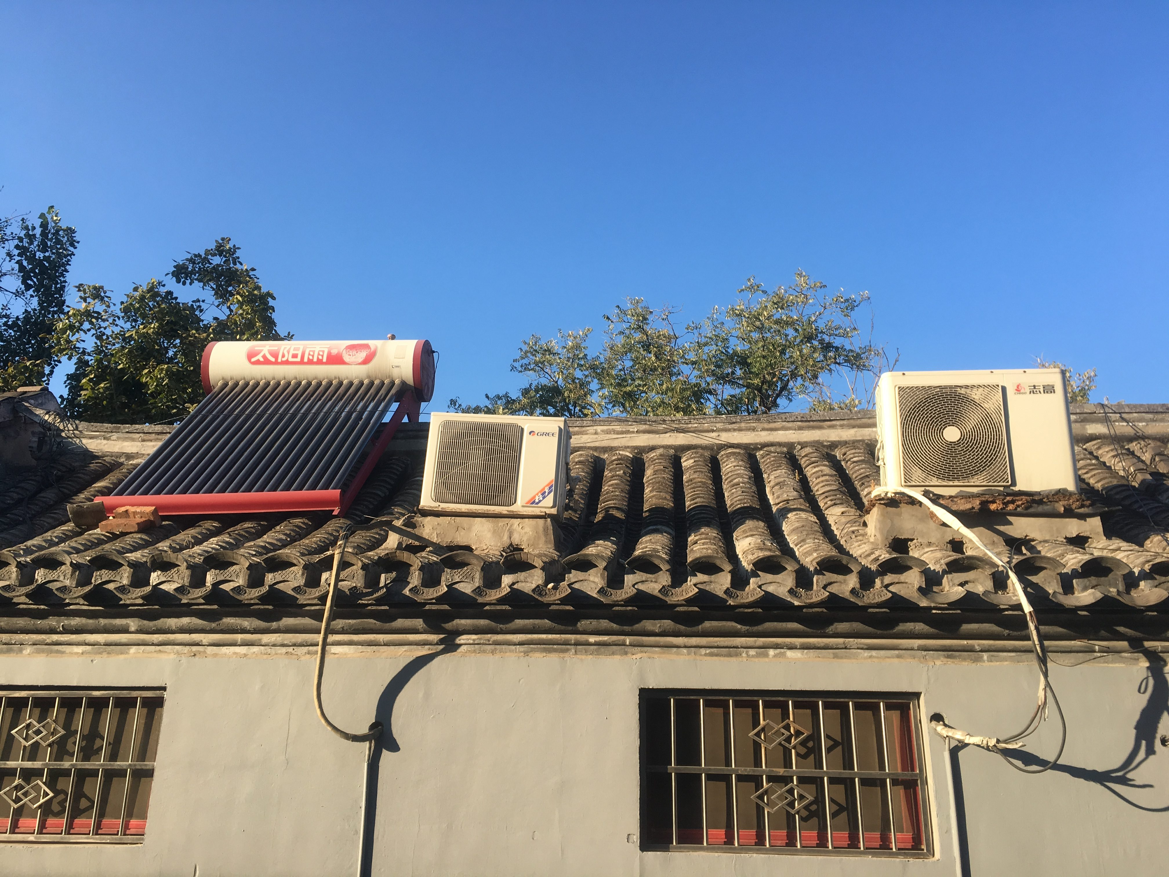 Solar hot water on a hutong roof