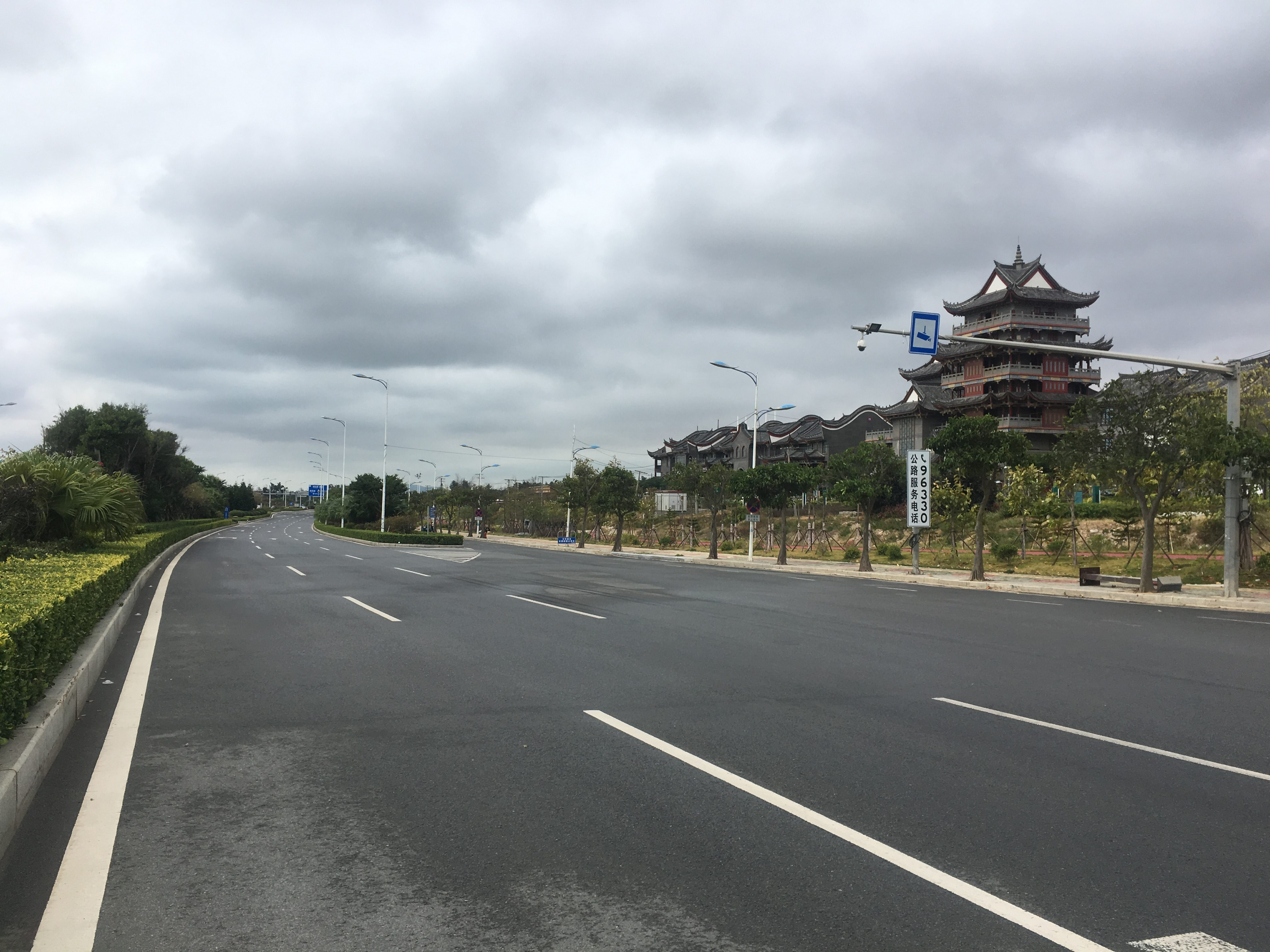 Half-way across the road. The 'Old China' theme park is to the right.