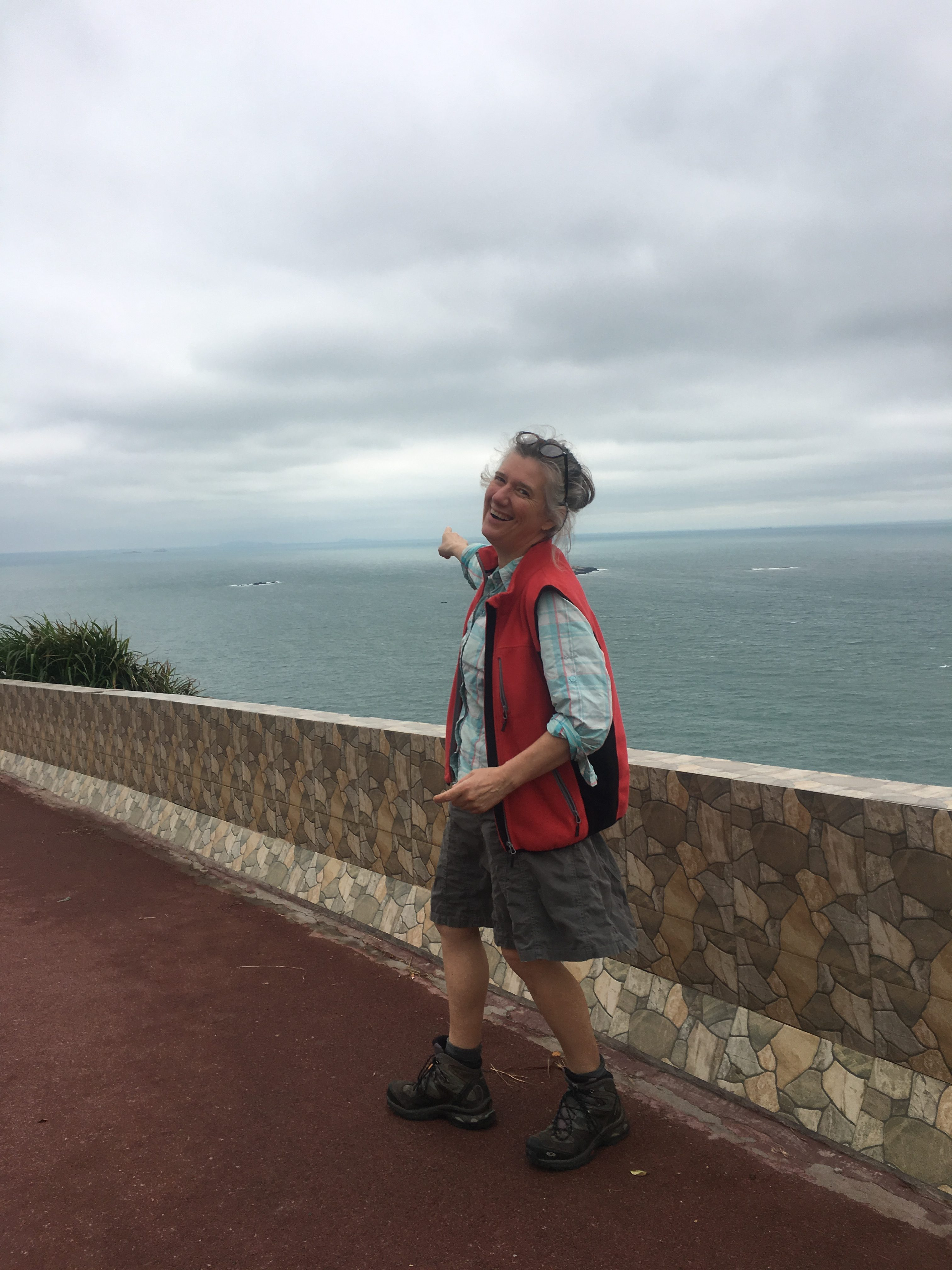 Pointing at Taiwan. Its a long way to swim 170.4 km)