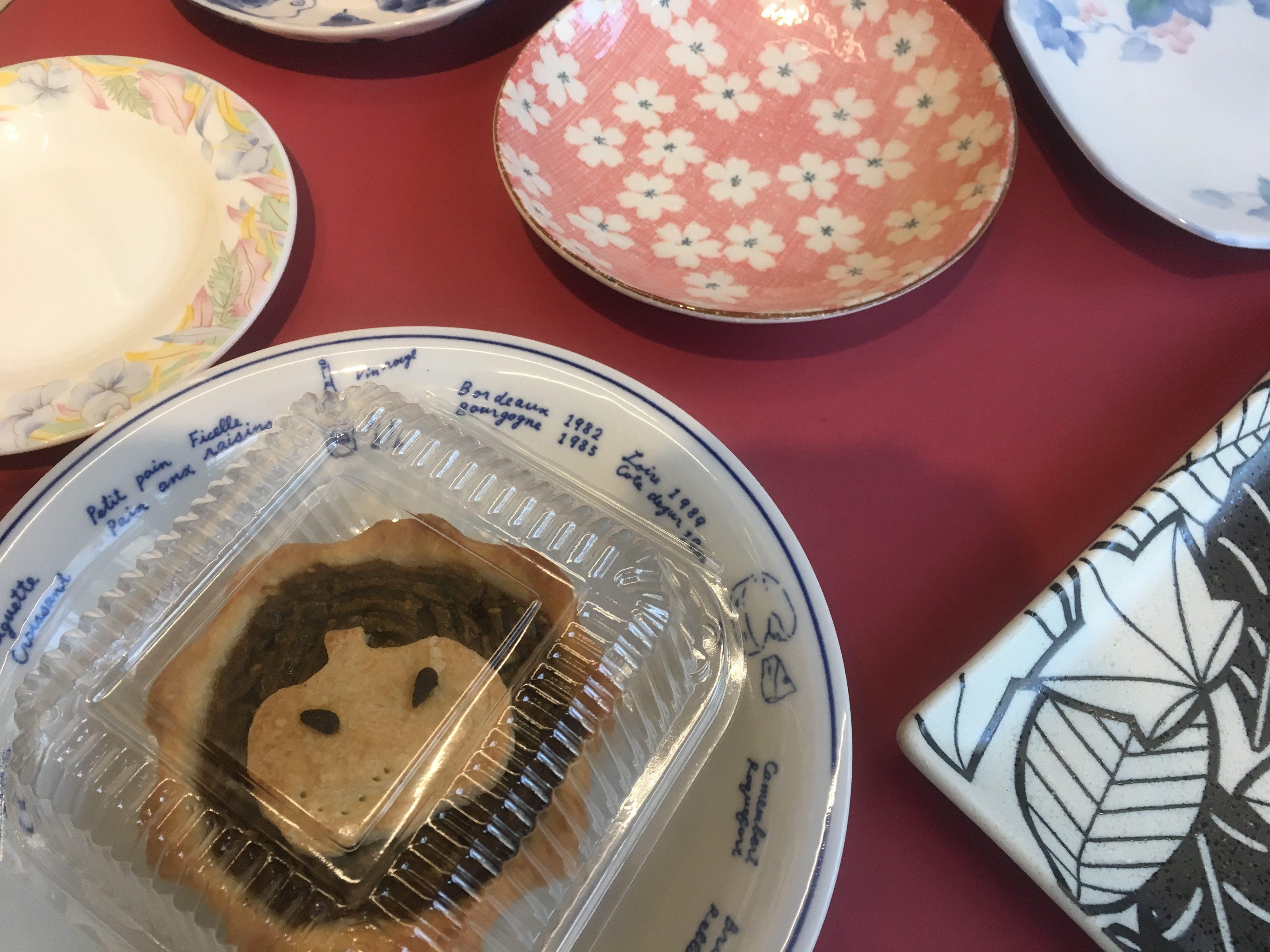 Fine apple pie on fine china, vegan bakery, Tainan