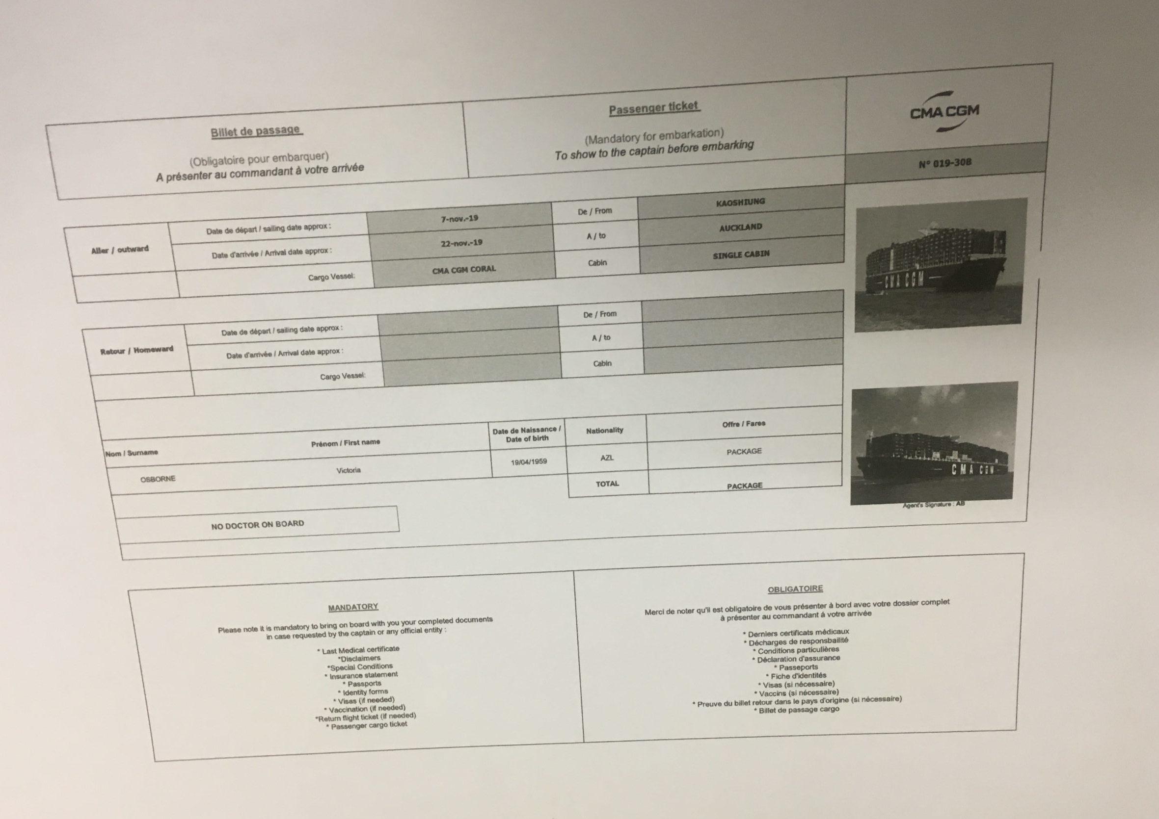 cargo cruise ticket