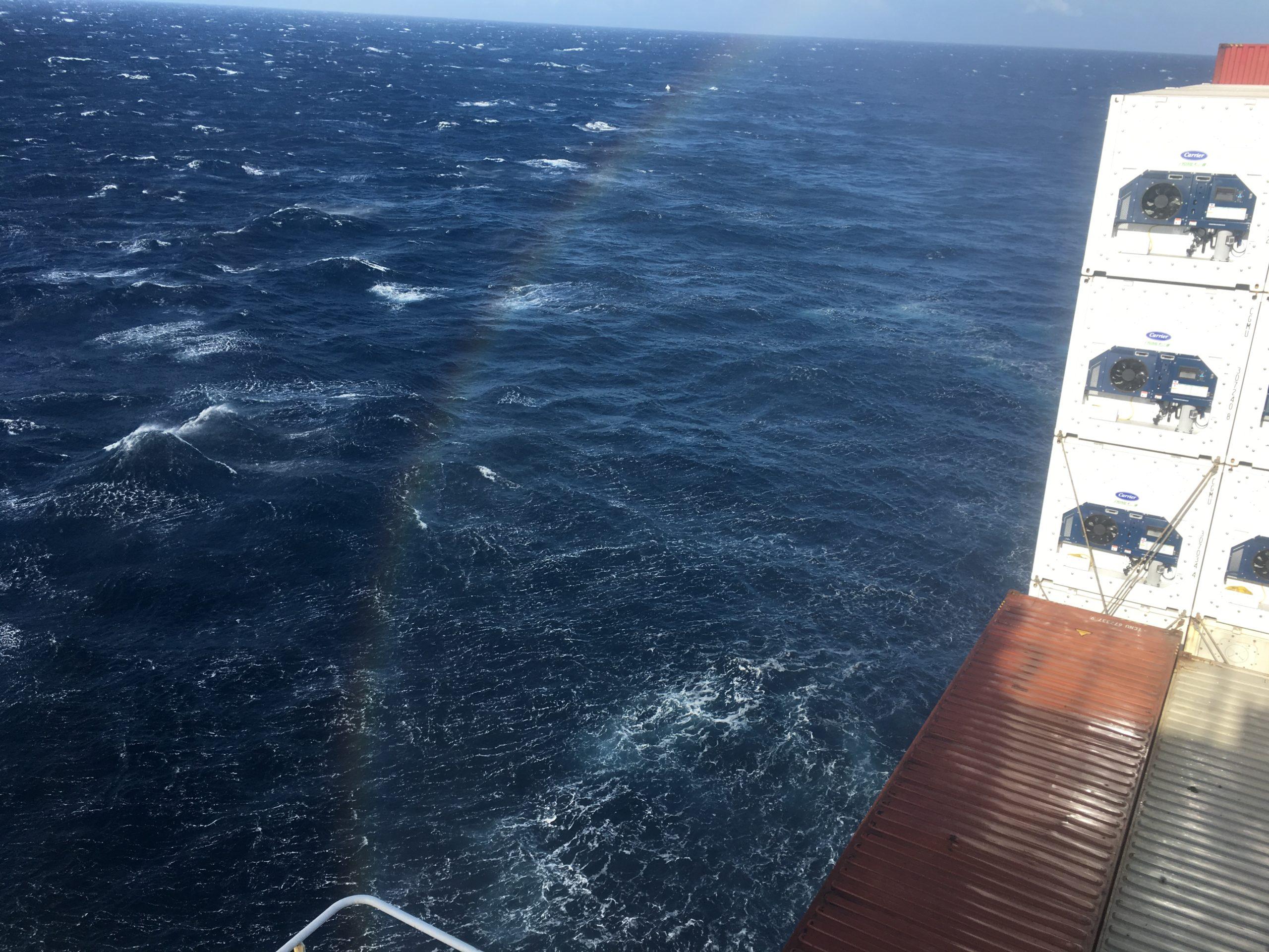9th November rainbow from bow spray