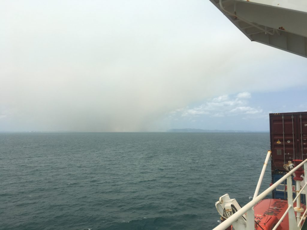Bushfire smoke haze as CC Coral nears Brisbane