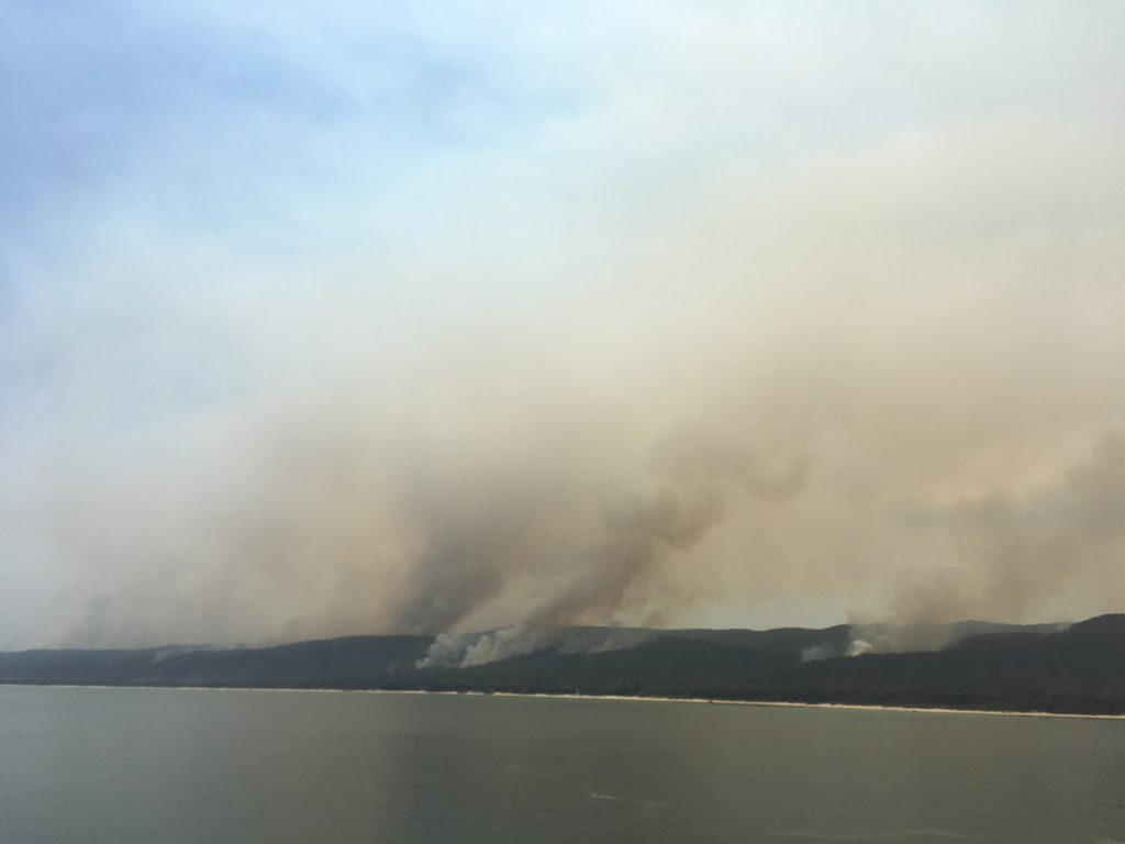 Moreton Island fire from CC Coral