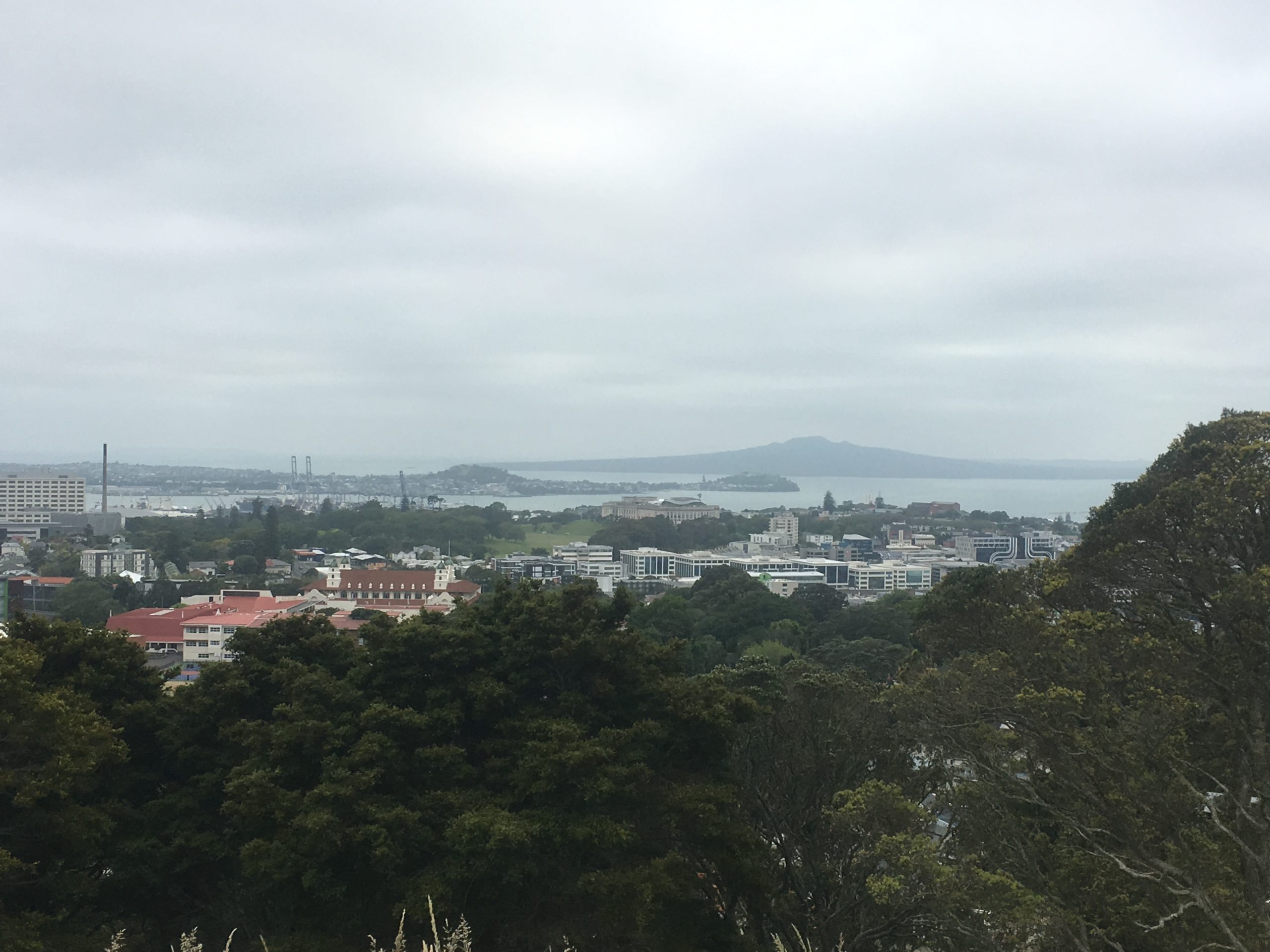 Rangitoto Island in Auckland Harbour - CC Coral berthed at left hand cranes