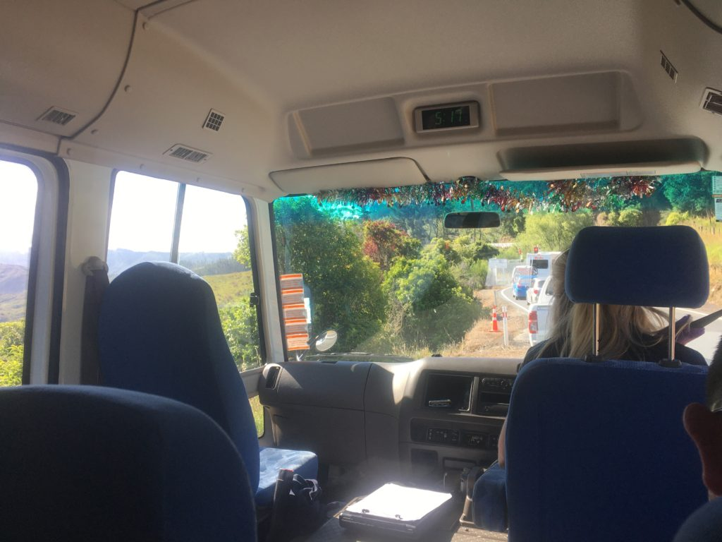 There's even a view inside the bus between Nelson and Takaka