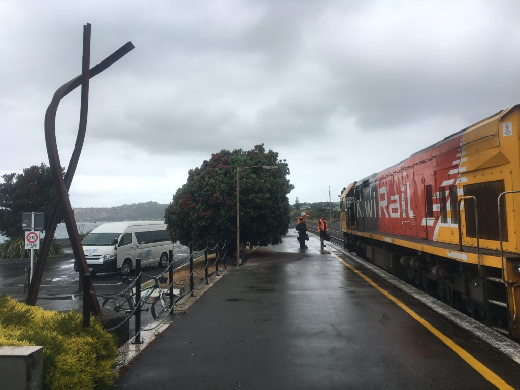 Train waiting at Kaikoura station
