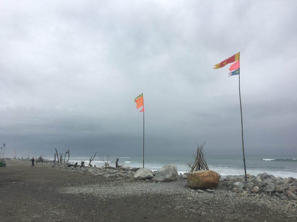 Left-over drift-wood sculptures in Hokitika
