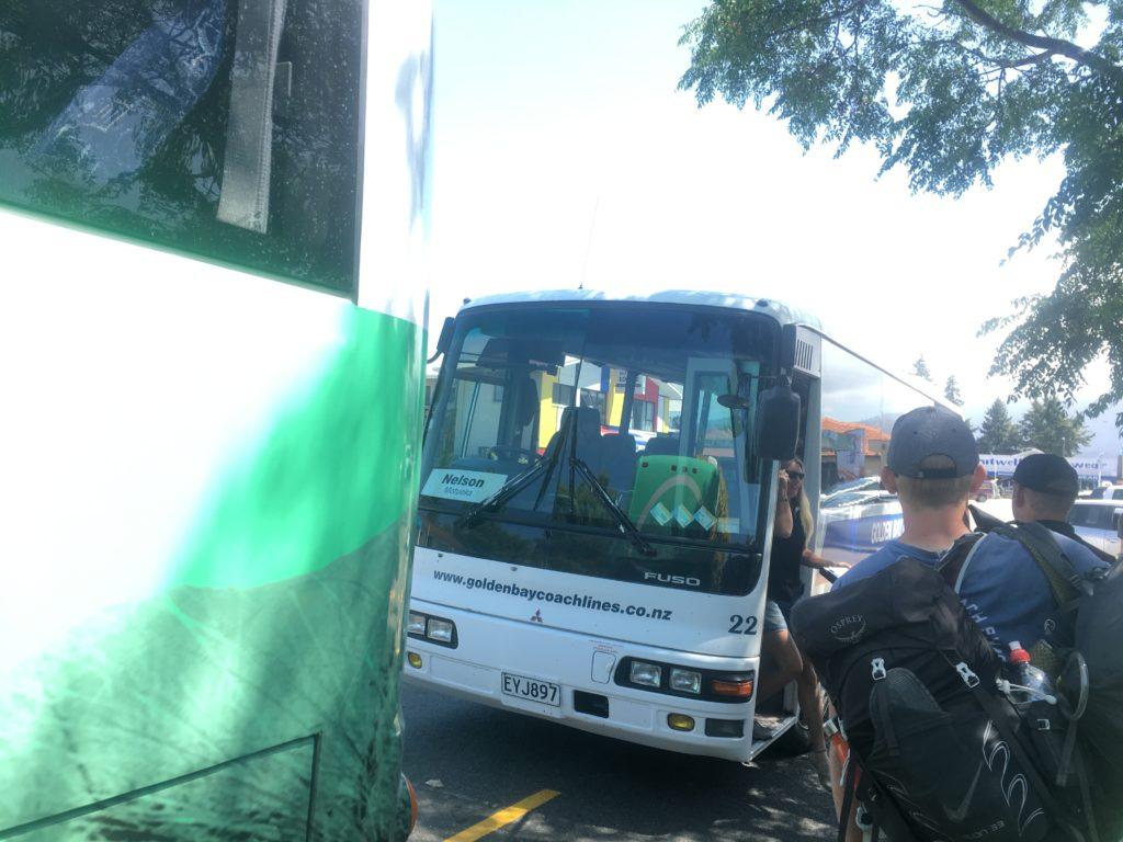 Little Nelson Bus beside the Abel Tas waiting in Mot