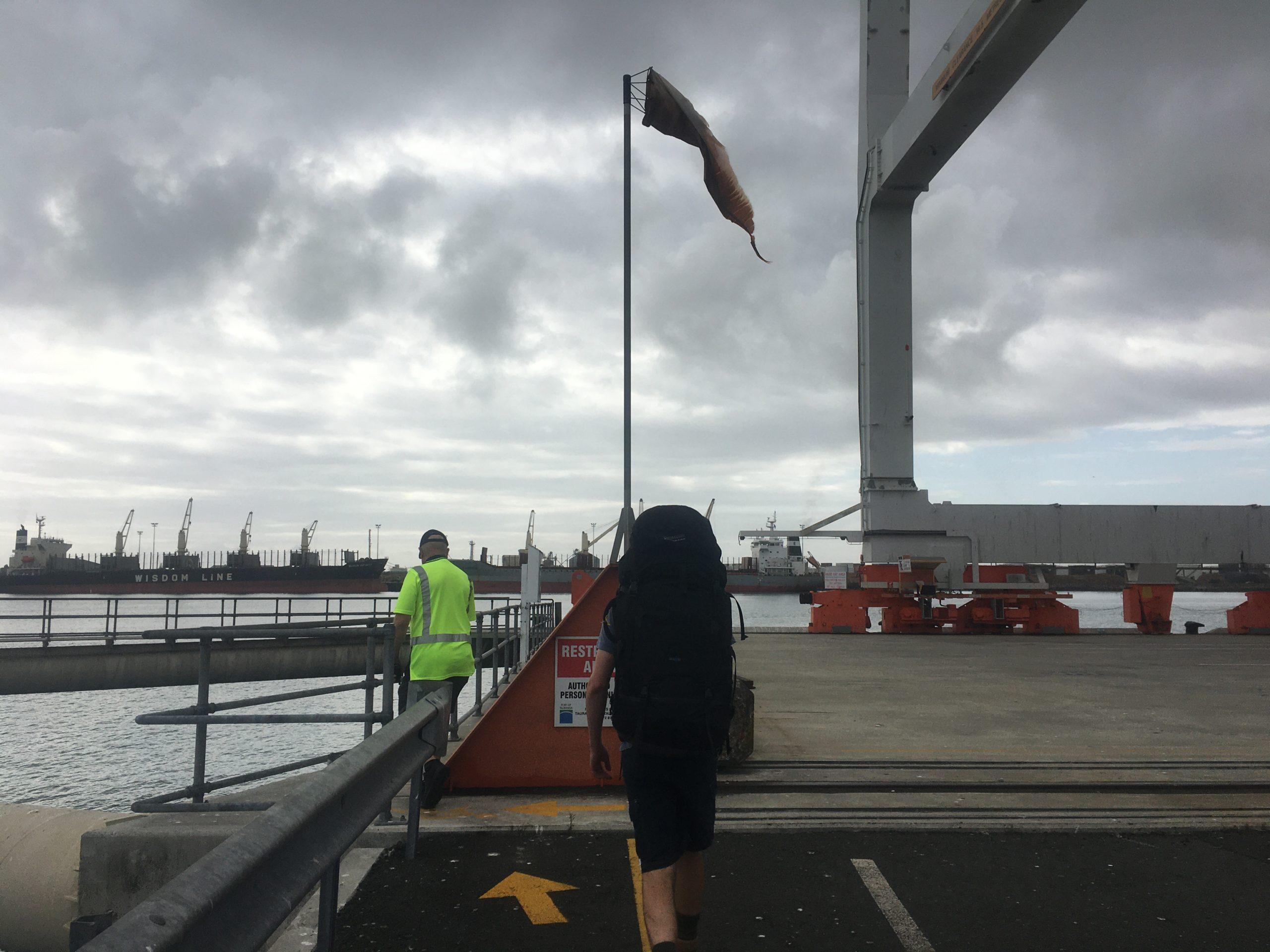 Following security down to the wharf at Tauranga