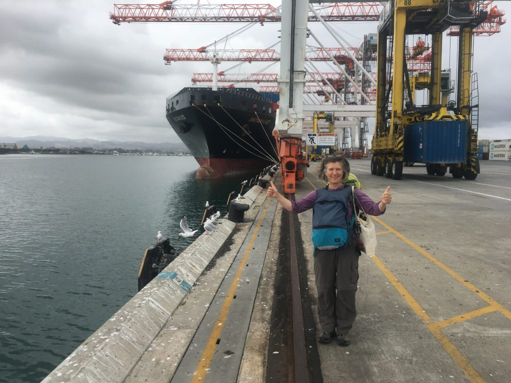 Passenger number two beside my second container ship docked at Port Tauranga