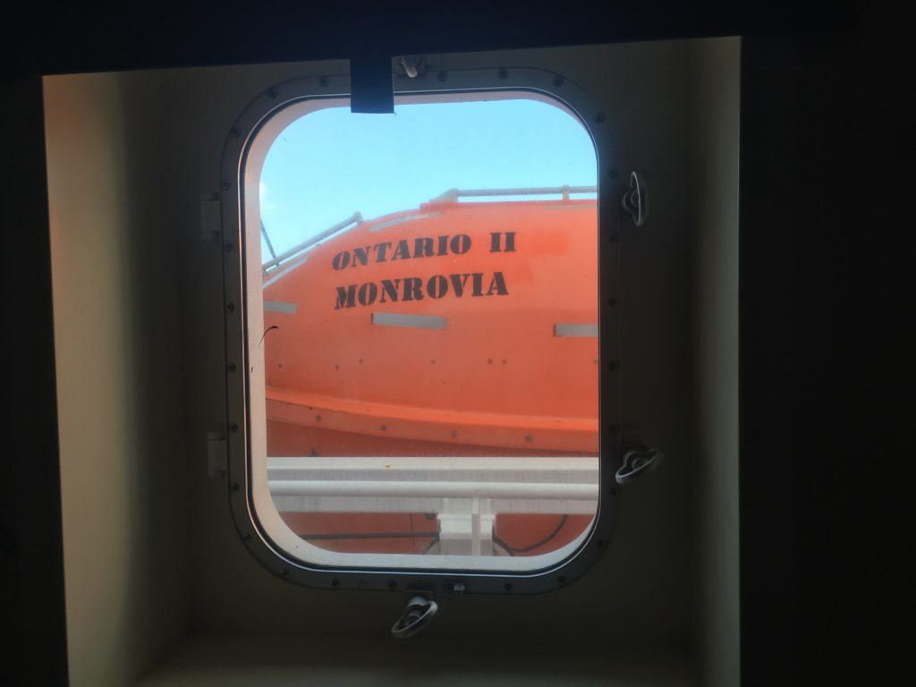 Life boat seen from the ping pong room Ontario II