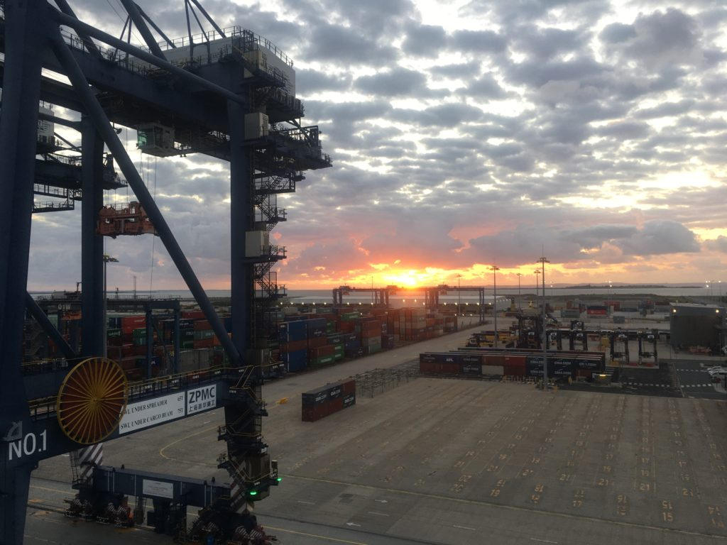 Sunrise over Port of Brisbane from Ontario II