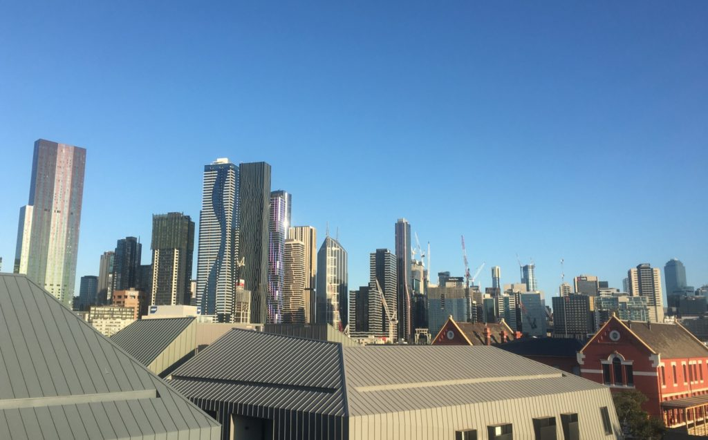 Clear sky above Melbourne city